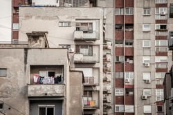 Communist housing buildings, in a decay and diplapidated condition in Belgrade Serbia. This kind of towers are a symbol of Socialist architecture and of the economic transition Eastern Europe faced