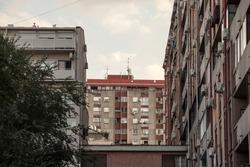 Communist housing buildings, in a decay and diplapidated condition in Belgrade Serbia. This kind of towers are a symbol of Socialist architecture and of the economic transition Eastern Europe faced.