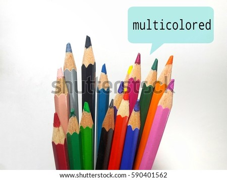 Community and society concept. Multicolor pencil color symbolic to group of people with word multicolored #590401562