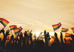 Community Celebration Rainbow Flags Support Concept