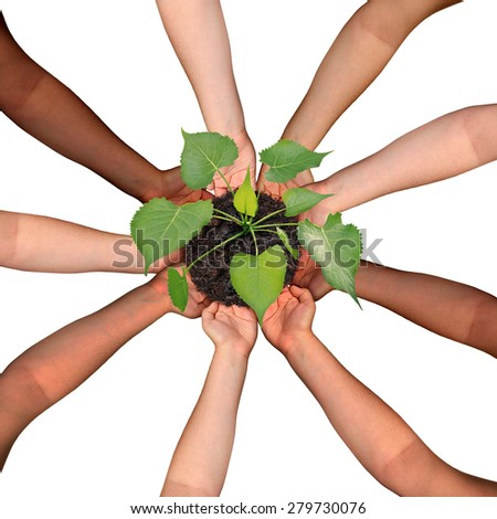 Community collaboration and cooperation concept and social crowdfunding investment symbol as a group of diverse hands organized in a circular formation nurturing a growing sapling tree.