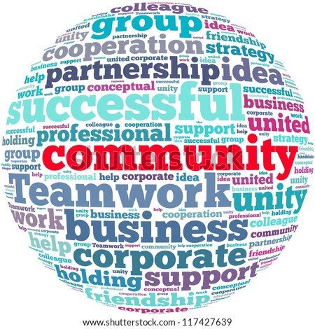 Community info-text graphics and arrangement concept on white background (word cloud)