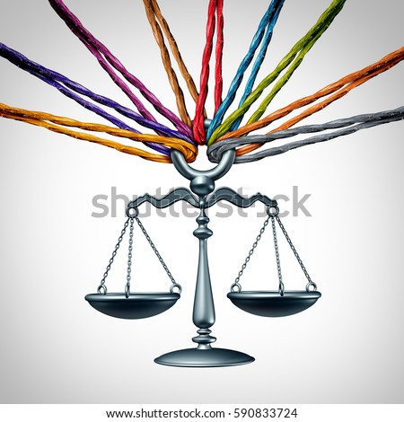 Community law or class action lawsuit and legal assistance concept as a group of diverse ropes as social justice and cooperating together to provide judicial advice with 3D illustration elements.