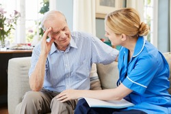 Community Nurse Visits Senior Man Suffering With Depression
