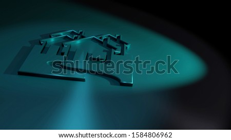 Community symbol. Three visible homes. Symbolism for neighborhoods, proximity and suburbs. Black and blue colors. 3D rendering of a metallic icon. Surface made of stainless steel. 16:9.