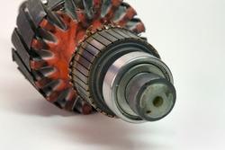 commutator of rotor closeup. bearing and magnetic circuit of rotor blured