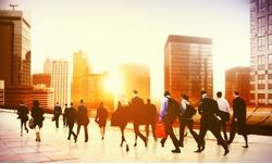 Commuter Business District Walking Corporate Cityscape Concept