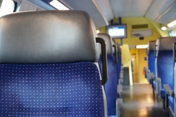 commuter train carriage empty due to coronavirus COVID-19 measures. Commuters are in home office or just under curfew.