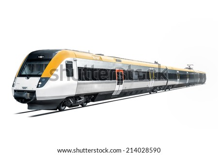 Commuter train is coming out from the white background.