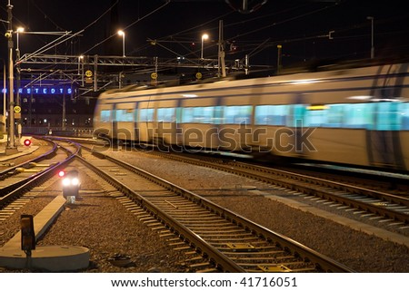 Commuter train with motion blur