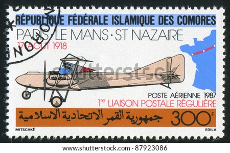 COMORO ISLANDS - CIRCA 1987: stamp printed by Comoro Islands, shows Farman biplane, circa 1987