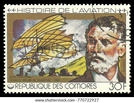 Comoros - stamp printed 1978, Multicolor memorable Edition of offset printing with Topic Aviation, Series Aviation History, Otto Lilienthal, 1896