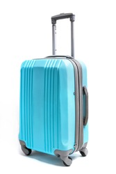 Compact blue plastic suitacase for travel isolated on white background