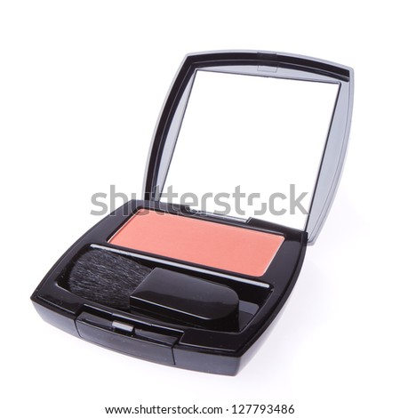 compact blush with brush isolated on white background