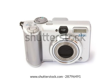 Compact digital camera isolated on white. Front view.