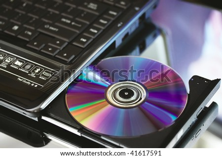 Compact disc and cd dvd recorder. Close up.