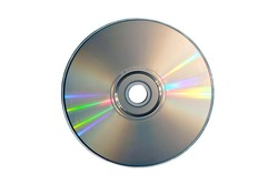 Compact disc on a white background close up