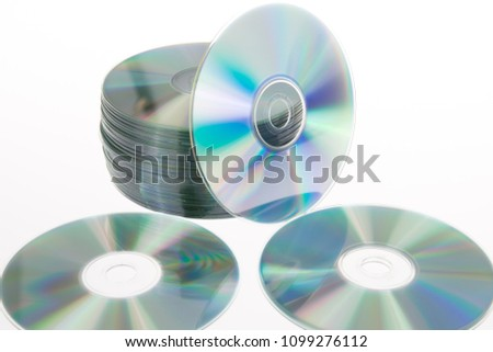 Compact disc stack discs on a white background #1099276112