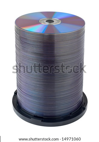 Compact disc stack over white