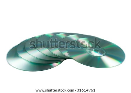 compact discs isolated on the white background - stock photo