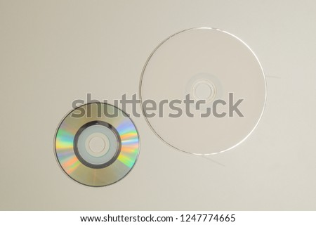 Compact discs on a white background. copy space #1247774665