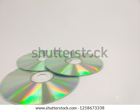 compact discs on a white background.HD. #1258673338