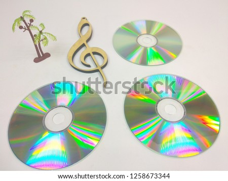 compact discs on a white background.HD. #1258673344