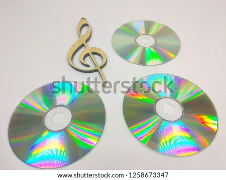 compact discs on a white background.HD. #1258673347