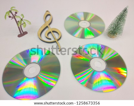 compact discs on a white background.HD. #1258673356