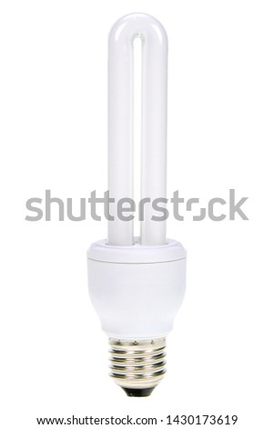 Compact fluorescent lamp isolated on white. Energy saving light bulb