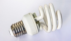 Compact fluorescent lamp with a 12-watt light background view from above