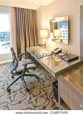Compact modern office interior in the luxury five stars hotel.