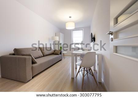 Compact, modern sleeping room interior design in scandinavian style