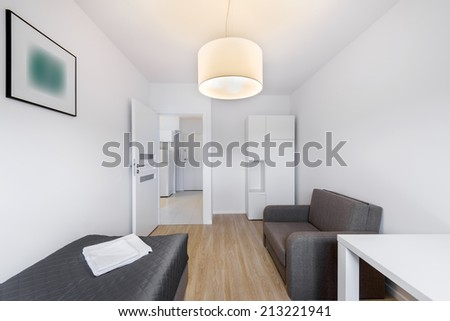 Compact, sleeping room for rental in scandinavian style