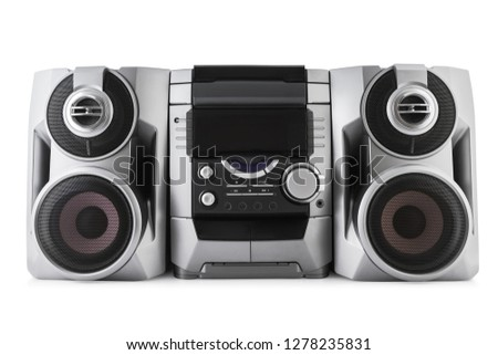 Compact stereo system cd and cassette player isolated with clipping path on white background.