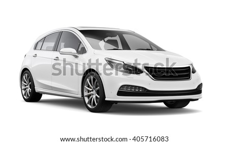 Compact white car - 3D render on white