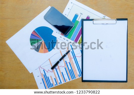 Company analyzes the company's annual financial statements, balances work with graphical documents. Economic picture, project, market, finance and tax office #1233790822