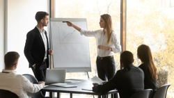 Company boss and business trainer stands in front of audience workshop participants making presentation using flip chart raised sales positive results of work done, seminar corporate education concept