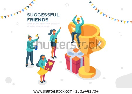 Company contract greeting, successful agreement idea. Friendship to success, friend congratulation. Joy to flying joyful on the air to celebrate an achievement. Young celebration leader. Flat image.