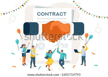 Company contract greeting, successful agreement idea. Friendship to success, friend congratulation. Joy to flying joyful on the air to celebrate an achievement. Young celebration leader. Flat.