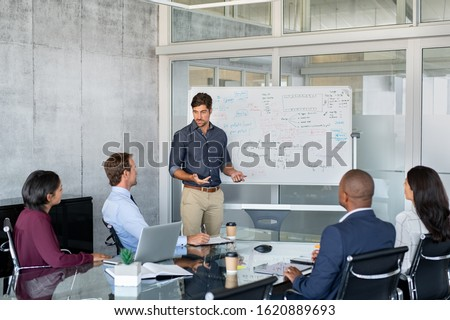 Company executive presenting new management strategy to team in conference room. Successful business man giving reports to his colleagues. Young manager presenting on white board his business plans.