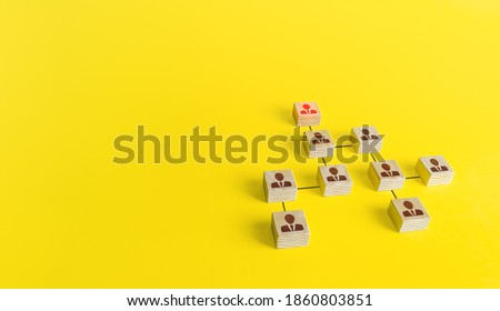 Company hierarchical organizational chart of blocks. The classic conformism system of the leader-subordinate. Efficient company structure with high performance. Determination of the final beneficiary