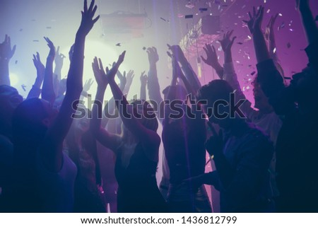 Company of nice attractive lovely stylish cheerful cheery positive carefree guys ladies meeting gathering having fun vacation hanging out best summer event festive at new cool modern place indoors #1436812799