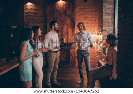Company of nice lovely elegant classy cheerful cheery positive guys ladies having talk fun birthday casual formal-wear in fashionable wood brick industrial loft interior room indoors #1343047262