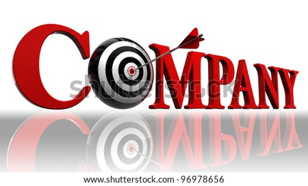 company red word and conceptual target with arrow on white background. clipping path included - stock photo