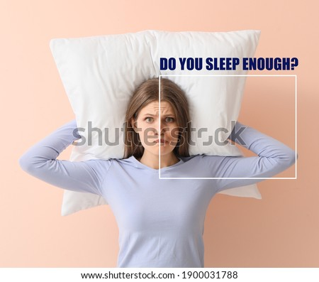 Comparative portrait of woman with and without sleep deprivation problem on color background Foto stock ©