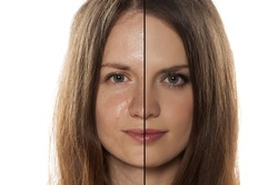comparative portrait of women with and without makeup