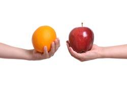 compare apple to orange white background