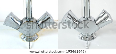 Compare image before- after cleaning with special detergent of the dirty stainless faucet cover with dirty hard calcium water stain in the bathroom. Old dirty faucet with clean and shiny like new.   Foto d'archivio ©
