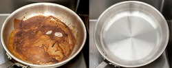 Compare image before and after cleaning the unclean able stained pot from burnt cooking pan. The dirty stainless steel pan with the clean pan clean shiny bright like new in the kitchen sink.